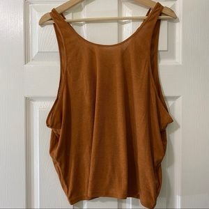 Prana Brown/yellow Sleeveless Yoga Top Sz Md